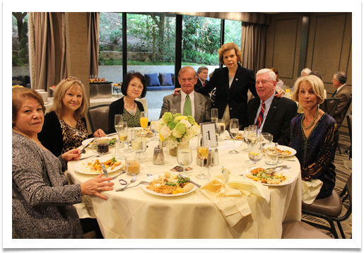 Table One with (L-R): Adriana Ramirez, Judy Arevalo, Sue Greenblatt, Dick Greenblatt, Raqui, Adm. Lee & Roz Levenson