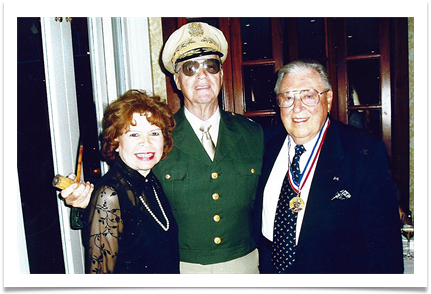David Valley (aka Gen Douglas MacArthur) with Ed and Raqui as he is presented with the Gen.Douglas MacArthur medal
