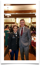 Matthew Walters, OU ROTC 2018 Recipient of Col. Ed Ramsey Scholarship with Kelly Vu
