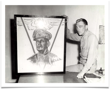 Flag made by Ed's ECLGA depicting Gen. MacArthur, now on permanent display at the OMA Museum