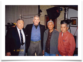 "North with Ramsey, Fernando Apostol & Jose Espero during filming of ""The Liberation of the Phil."" Apr. 28, 2005"