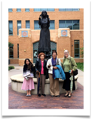 In front of the building are L to R: Faith Powell, Raqui, Janine Ramsey & Jeanette Powell