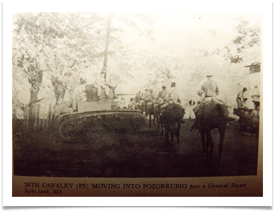 26th Cavalry Philippine Scouts moving into Pozorrubio pass a General Stuart light tank